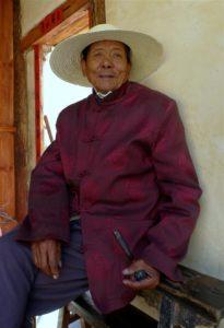 Old Man at Pear Orchard Temple, Shaxi Yunnan China