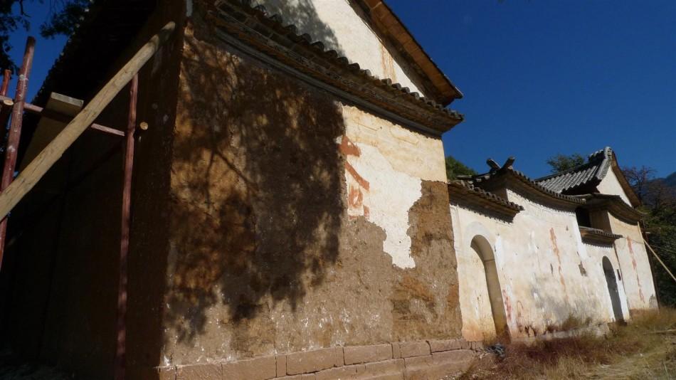 Jade Emperor front wall prior to rebuild (note bricked-up door)