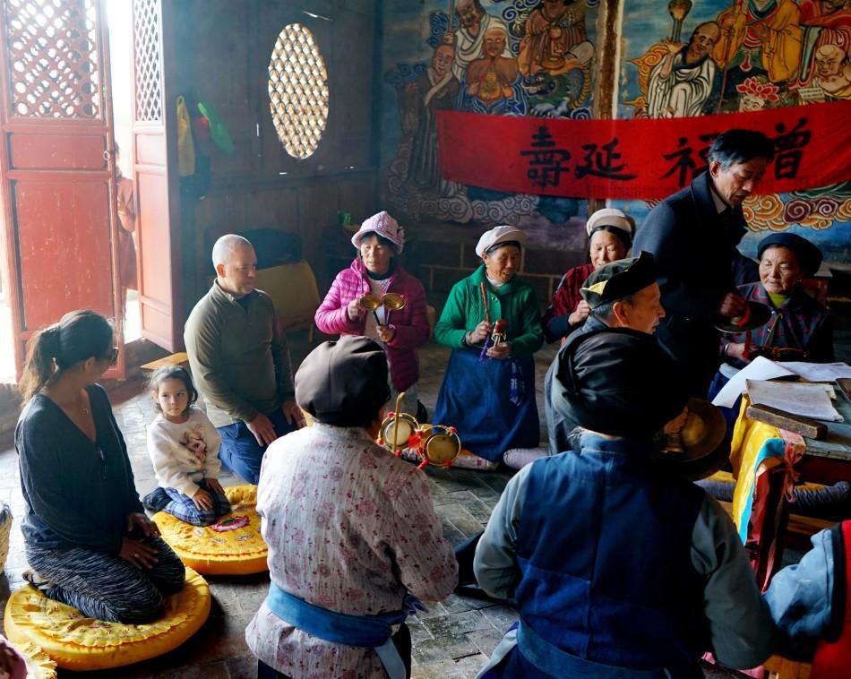 Nam Hannah and Chris at the ceremony - Pear Orchard Temple - Shaxi Yunnan China