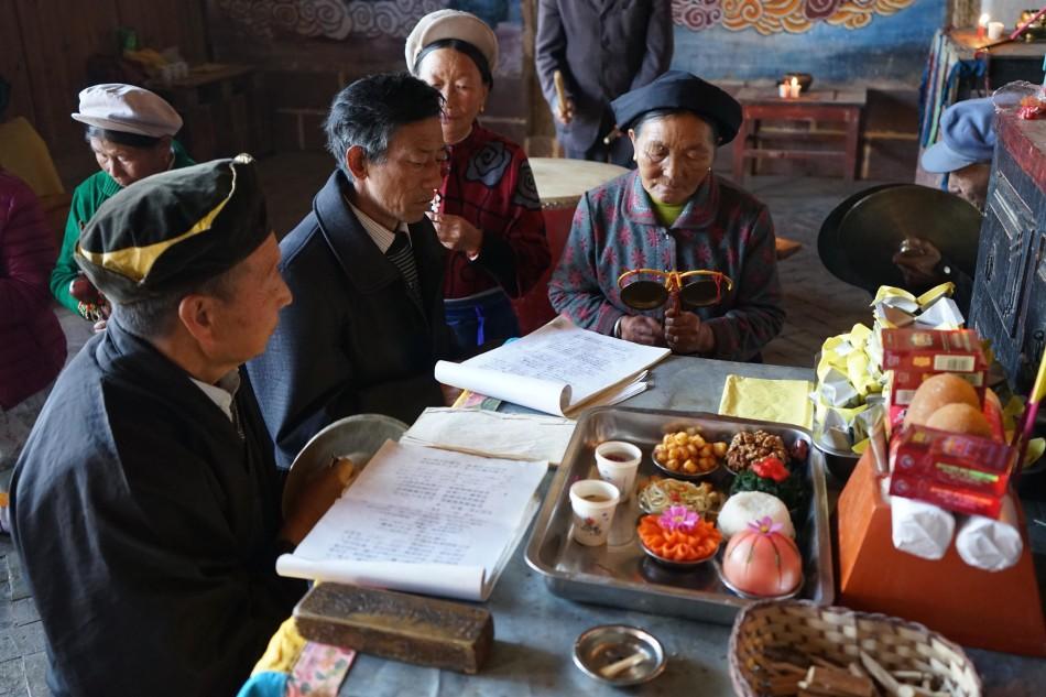 Reading prayers for Hannah - Pear Orchard Temple - Shaxi Yunnan China