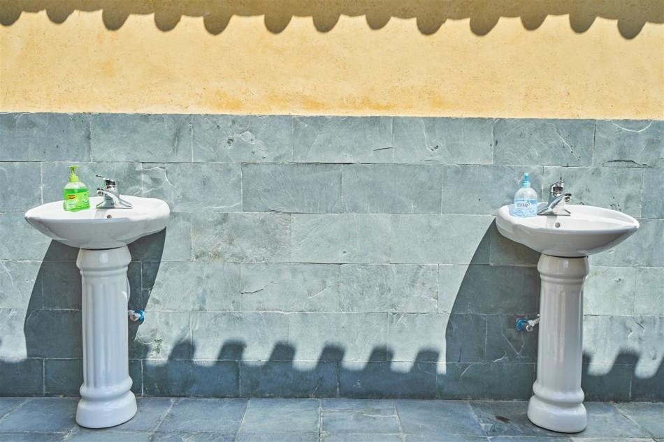 New sinks at restored Shaxi temple - Shaxi Yunnan China